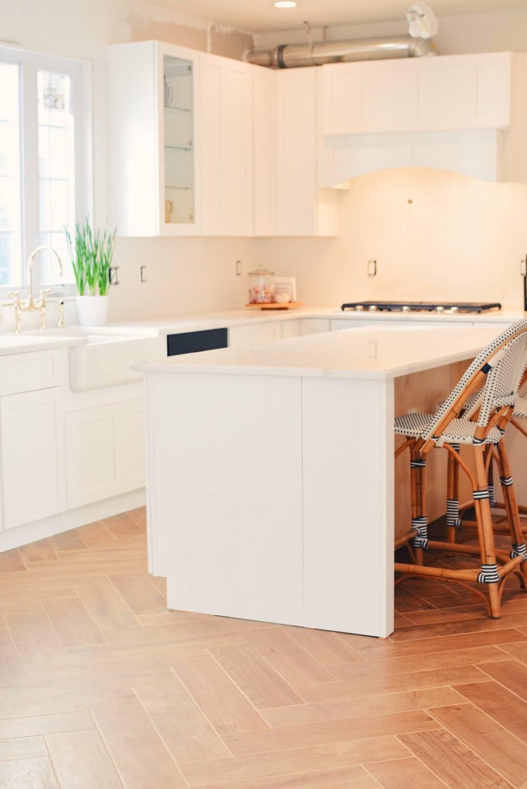 Kitchen Renovation Steps Herringbone Floors White