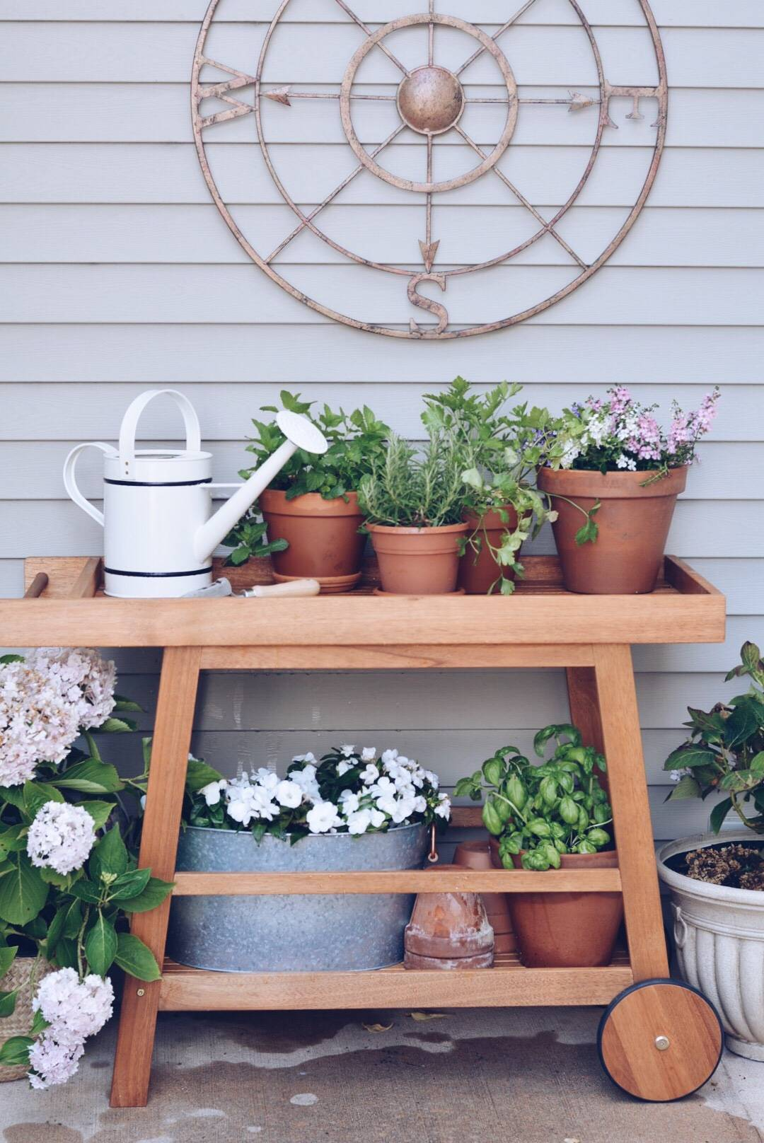 Outdoor Bar Cart And Potting Bench The Pink Dream