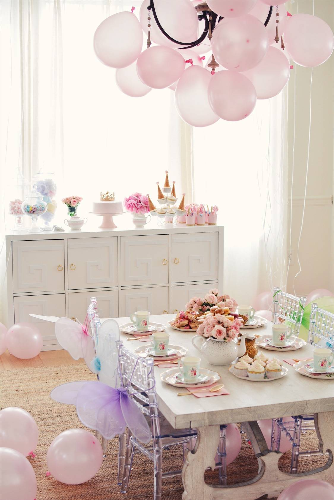 Princess Tea Party With Butterfly Wings Pink Balloons And Vintage Paper Set