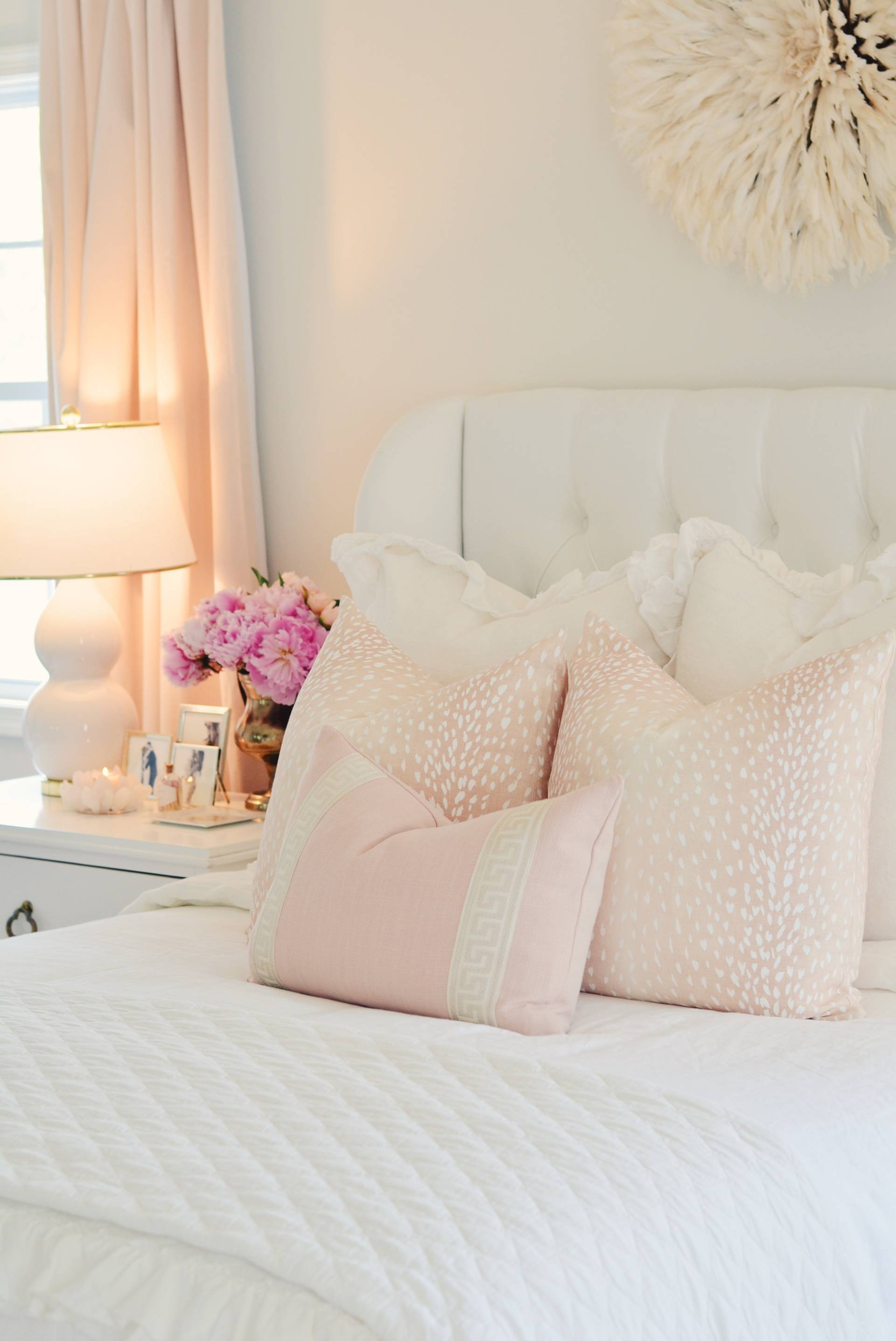 Elegant White Master Bedroom Blush Decorative Pillows The Pink Dream