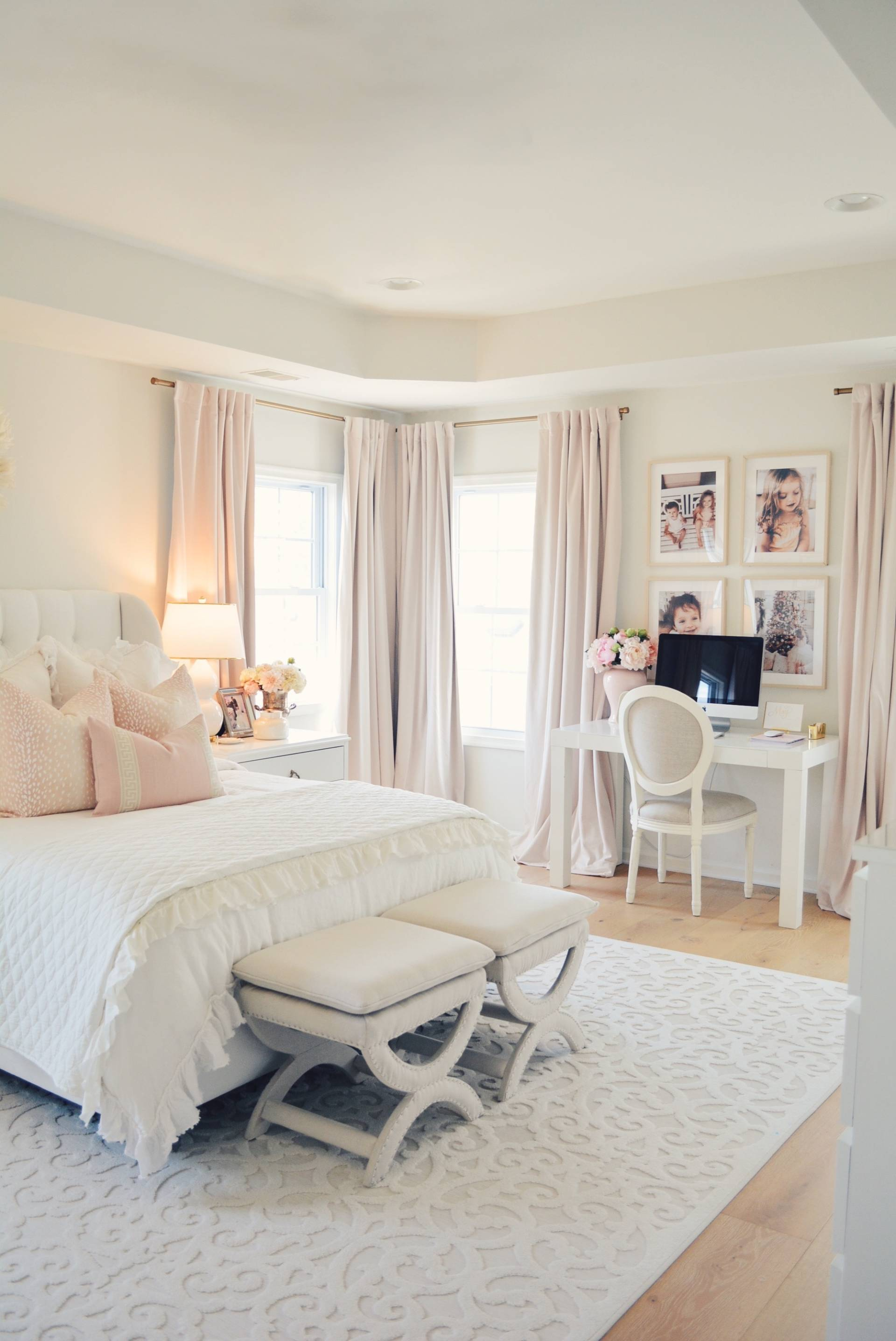 Elegant White Master Bedroom Amp Blush Decorative Pillows